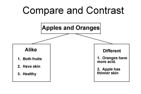 compare apples and oranges essay Writing a compare and contrast essay  bp 1)(compare) apples and oranges are both tree fruits often grown commercially in large orchards (contrast) however .